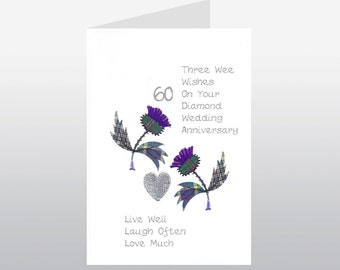 Scottish Diamond Wedding Anniversary Card Thistle WWWE07
