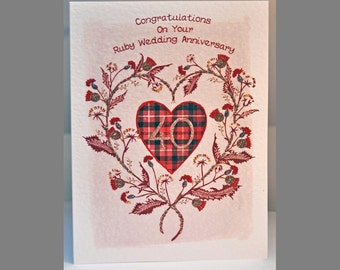 Special Wishes Large Thistle Heart Ruby Anniversary Card SW WE10