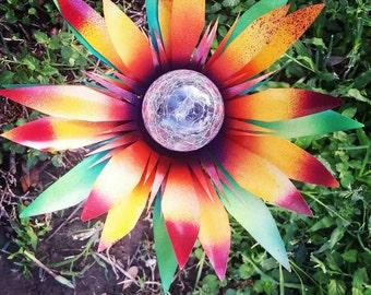 Sunflower Solar Lights, Walkway Lights, Path Lights, Metal Garden Decor