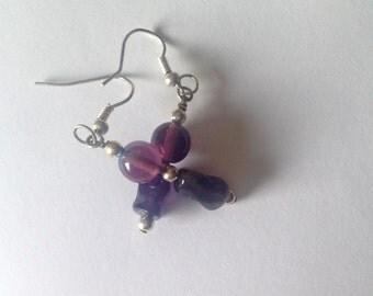 Purple Beaded Drop Ear Rings