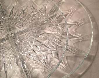 Two glass serving platters
