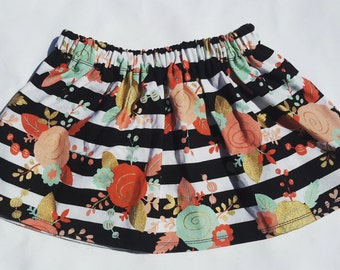 Stripes and Flowers Skirt