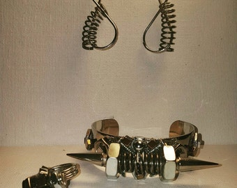 DareByKionde #SpikedAndScrewed collection bracelet, earrings and ring set