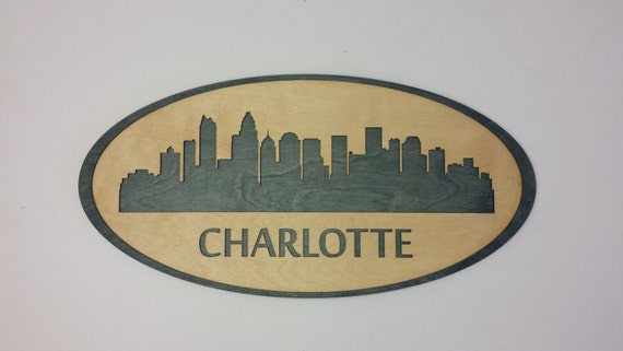 Charlotte Skyline Cityscape - 24 x 12 Custom Laser Cut - Wall Hanging Art - City Silouette