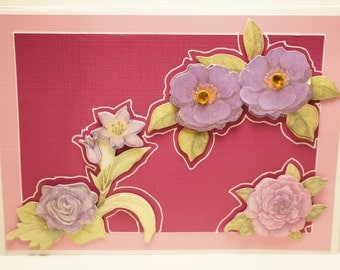 Handmade Maroon and Lavender Floral Card