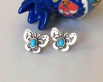 Silver earrings butterfly