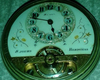 Vintage Hebdomas 8 Day Swiss Pocket Watch