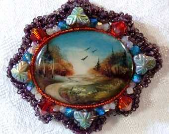 Brooch: Hand-Painted Fall Landscape on Mother-of-Pearl; Fire Opal, Sand Opal AB, & Blue Zircon Swarovski Crystal; Vintage Czech Glass Beads