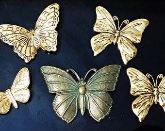 VINTAGE 5 pc Rare butterfly  very nice brass stamping jewelry findings /CC1