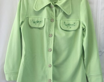 Vintage 1970 polyester button up top