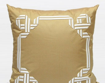 "Luxury Gold Textured Frame Embroidered Pillow Cover 20""X20"""