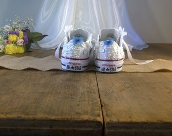 Wedding converse! White lace and pearl customized wedding shoes