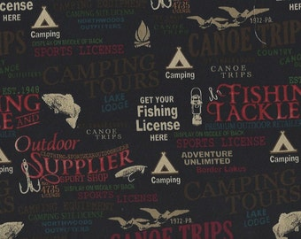 Camping,Fishing,Outdoor sports shop,signs Windham Fabrics on black
