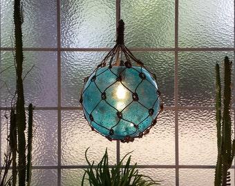 Nautical Light Pendant, Aqua Pendant, Blue, Tiki, Fishermans Float, Bullandburd, Beach Decor, Nautical Home Decor, Fishnet, Globe Light
