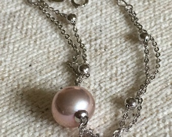Bracelet with a AAA fresh water Pearl and starling chain