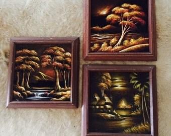 Vintage Triptych original Black Velvet paintings