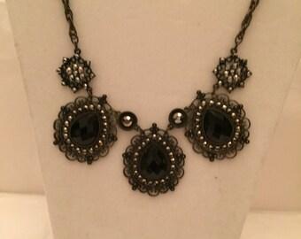 Black Lace Teardrop Necklace/Bib Necklace/Teardrop