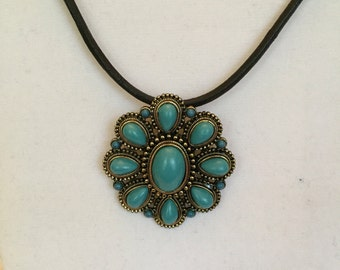 Chunky Turquoise Pendant Necklace