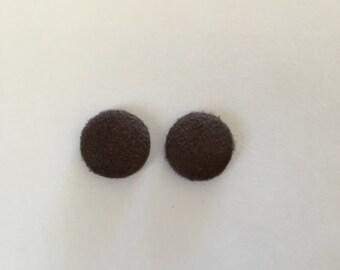 15mm Chocolate Brown Velvet Fabric Studs