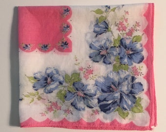 Vintage Pink Floral Handkerchief, Pink and Blue Floral Handkerchief, Wedding Handkerchief, Vintage Floral Handkerchief, Gift for Mom