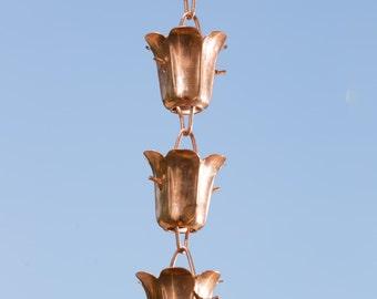 Pure Copper Tulip Rain Chain 8.5 ft