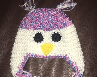 Childrens owl beanie with ear flaps