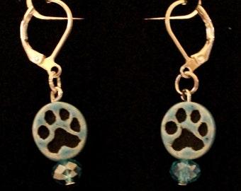 Light Blue Dog Paw Earring