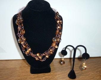 Crocheted copper wire necklace & earrings set