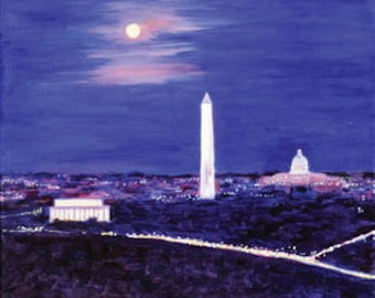Washington DC Monuments in Moonlight Oil Painting