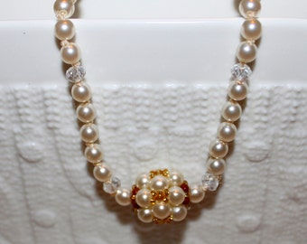 Cute Pearl & crystal hand knotted necklace; beadweaving pendant (in pearl and glass-beads)