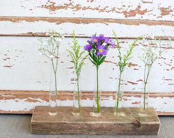 rustic test tube bud vase, reclaimed wood vase, industrial flower vase, industrial home decor, floral centerpiece, wedding centerpiece