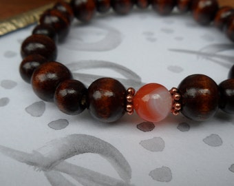 Red Agate and Wood Elastic Stack Bracelet, Copper Findings