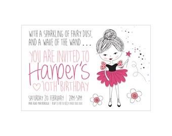 Kids Birthday SPUNKY FAIRY Invitation PRINTABLE