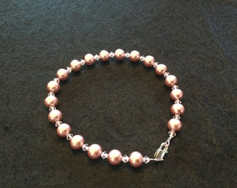 Dog or cat Pink Glass pearls necklace