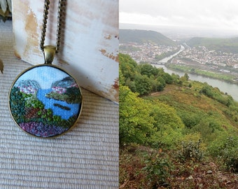 Free shipping Custom Landscape necklace embroidered pendant embroidery countryside Embroidered jewelry Embroidered necklace, needle work