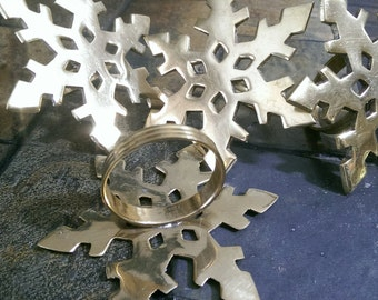Brass Snowflake Napkin rings, Brass Napkin Holders