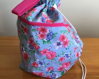 Knitting Project Bag - Pink and Blue Floral