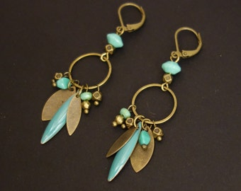 Long earrings blue turquoise and bronze