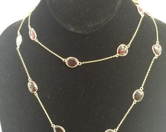 Garnet Gemstone in Gold Filled Necklace
