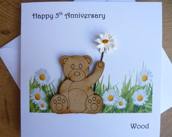5th wedding anniversary card five years wood  teddy bear gift with daisies