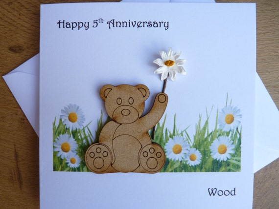 5th Wedding Anniversary Card Five Years Wood Teddy Bear Gift