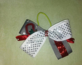 Gray and white bling Ohio State hair bow