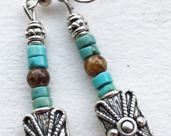 Turquoise and Silver Beaded Dangle Earrings