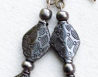 Pewter Beaded Dangle Earrings