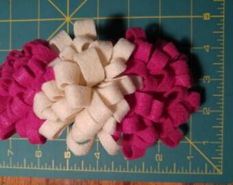 Fuchsia and Cream Felt Flower Hair Clip