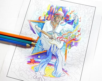 jimi hendrix at woodstock psychadelic printable pdf adult coloring sheet fan art print download