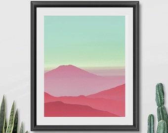 Abstract Landscape Art, Mountain Art Print, Modern Wall Art Prints, Printable Art, Pink Printable Art, Mint Printable Art, Mint Wall Decor