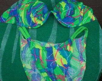 1990's Neon Print Bikini, Neon Green contrast straps and hip straps, Size Large