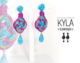 KYLA 1 Earrings, fabric, knot, Celtic knotwork earrings.