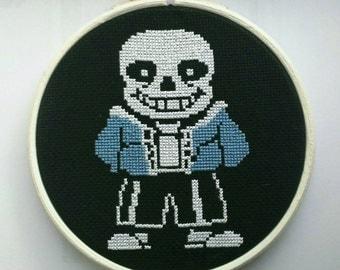 """Undertale Sans Cross Stitch in 5"""" Hoop"""